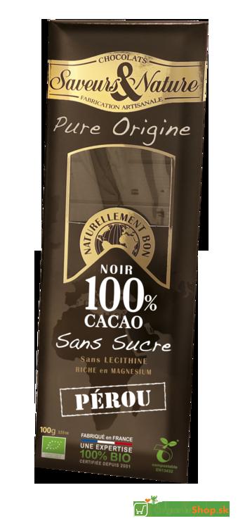 Čokoláda Bio 100% KAKAO BEZ CUKRU PERU – 100g