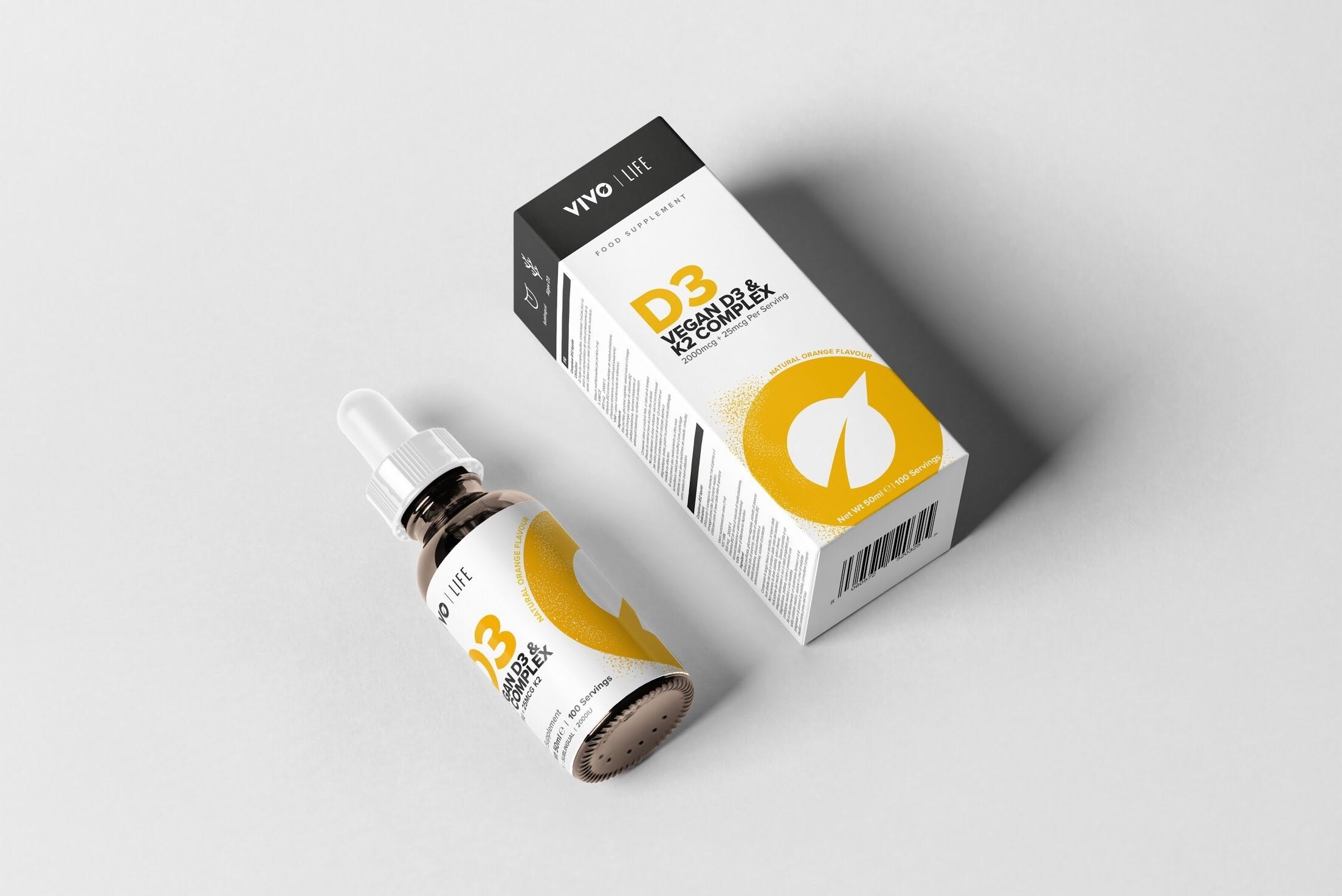 Vivo Life Tekutý Vitamín D3 a K2 ako MK-7 z rias, 50ml