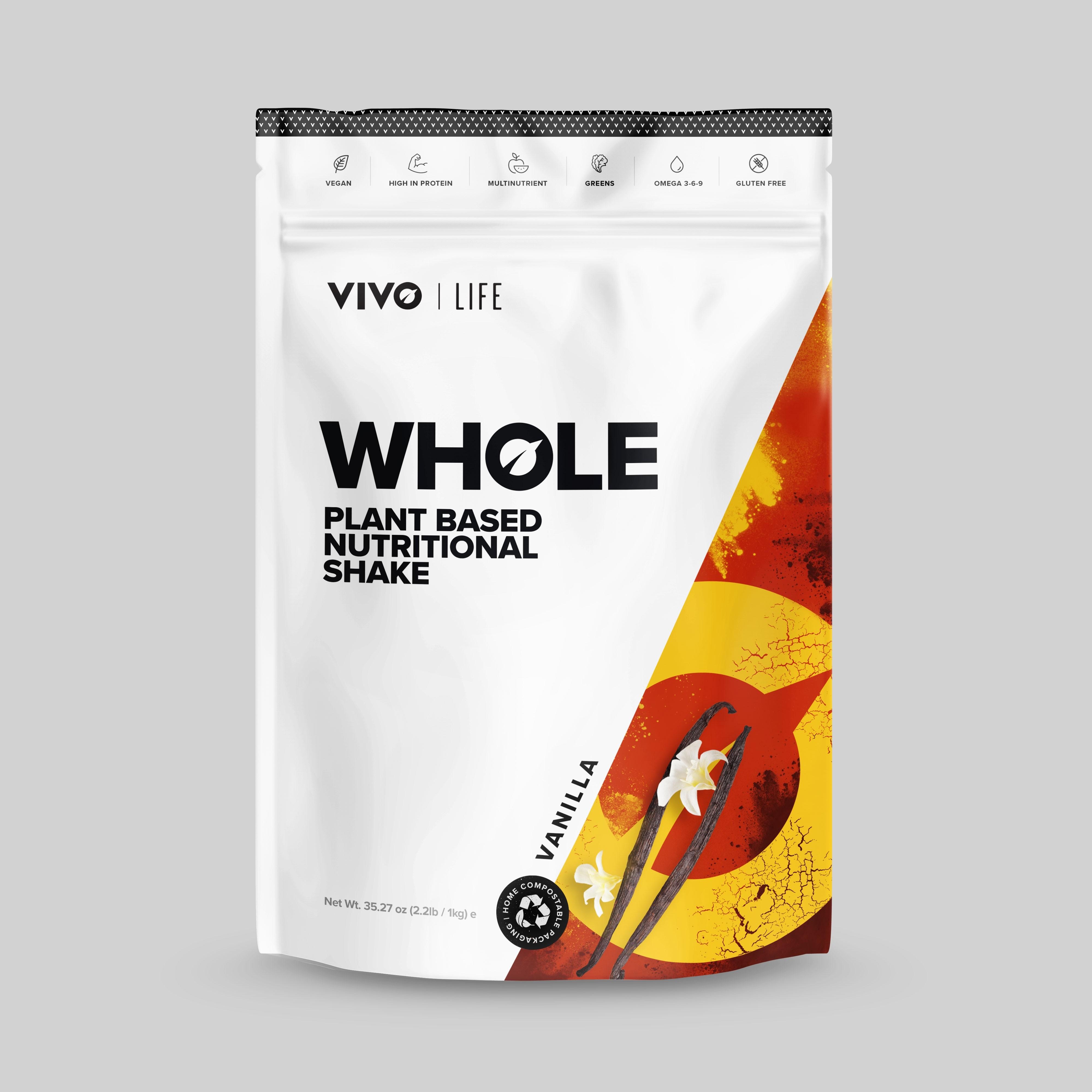 Protein Vivo WHOLE Nutričný shake vegan Vanilka 1kg